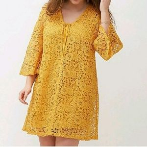 Lane Bryant • Mustard Crochet Lace Overlay Dress